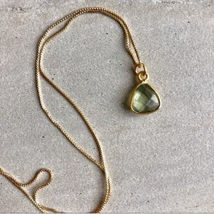 Green Amethyst Trillion 22k Gold Necklace